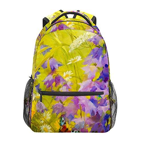 Watercolor Purple Yellow Flowers School Backpack Large Capacity Canvas Rucksack Satchel Casual Travel Daypack for Children Adult Teen Women Men