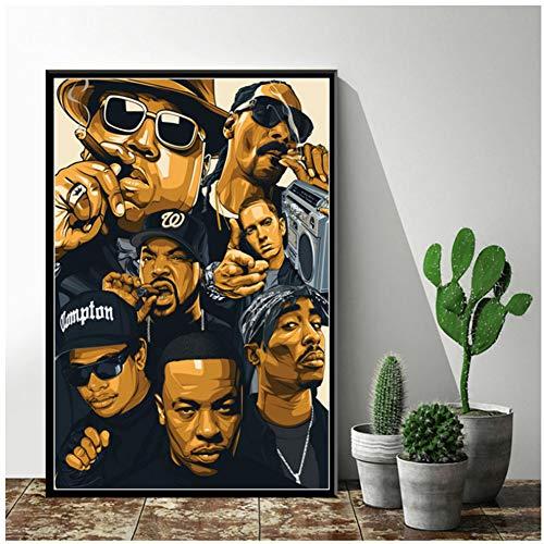 XuFan Art Decor Hip Hop Legend Old School Hip Hop Rap Star Wall Art Canvas Painting Poster Print on Canvas Wall decor-60X80cm No Frame