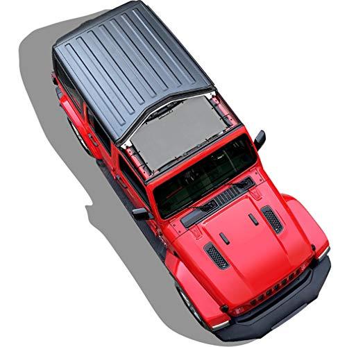 Shadeidea Sun Shade for Jeep Wrangler JL Unlimited 2 Door and 4 Door Front-Gray Mesh Screen Sunshade JLU SAHARA RUBICON SPORT S MOAB Top Cover UV Blocker with Grab Bag-10 years Warranty