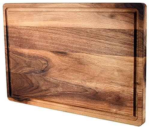 "UWELD Small American Walnut Cutting Board Reversible Chopping Board 12x8x0.7"" Charcuterie Board with juice groove"