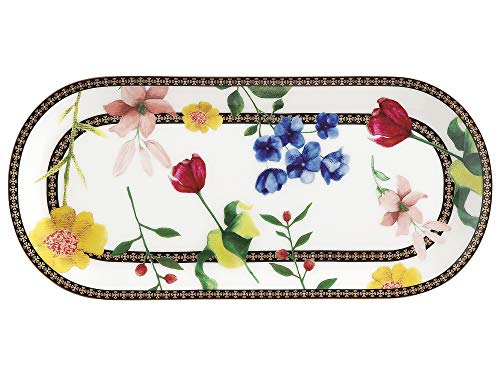 Maxwell & Williams Bandeja rectangular para servir con diseño de contessa, Porcelana, Blanco