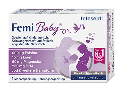 tetesept Femi Baby – 16 Nährstoffe für Kinderwunsch, Schwangerschaft & Stillzeit – mit Folsäure, Eisen, Jod + DHA – 1 x Monatspackung à 30 Tabletten + 30 Kapseln