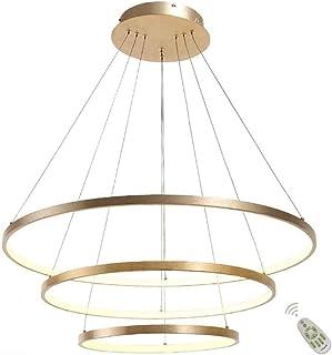 Lámpara Colgante LED, Luz de Techo Acrílico diseño moderno lámpara de mesa de comedor con el Control Remoto regulable 3000-6500K, Lámpara de techo para Salón oficina, Dorado - 3 Anillos 60+80+100cm