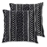 Harla Moroccan Stripe In Black and White Cushion Covers 20x20 Inch Soft Square Decorative Throw Pillowcases for Livingroom Sofa Bedroom 50cmx50cm,Pack of 2