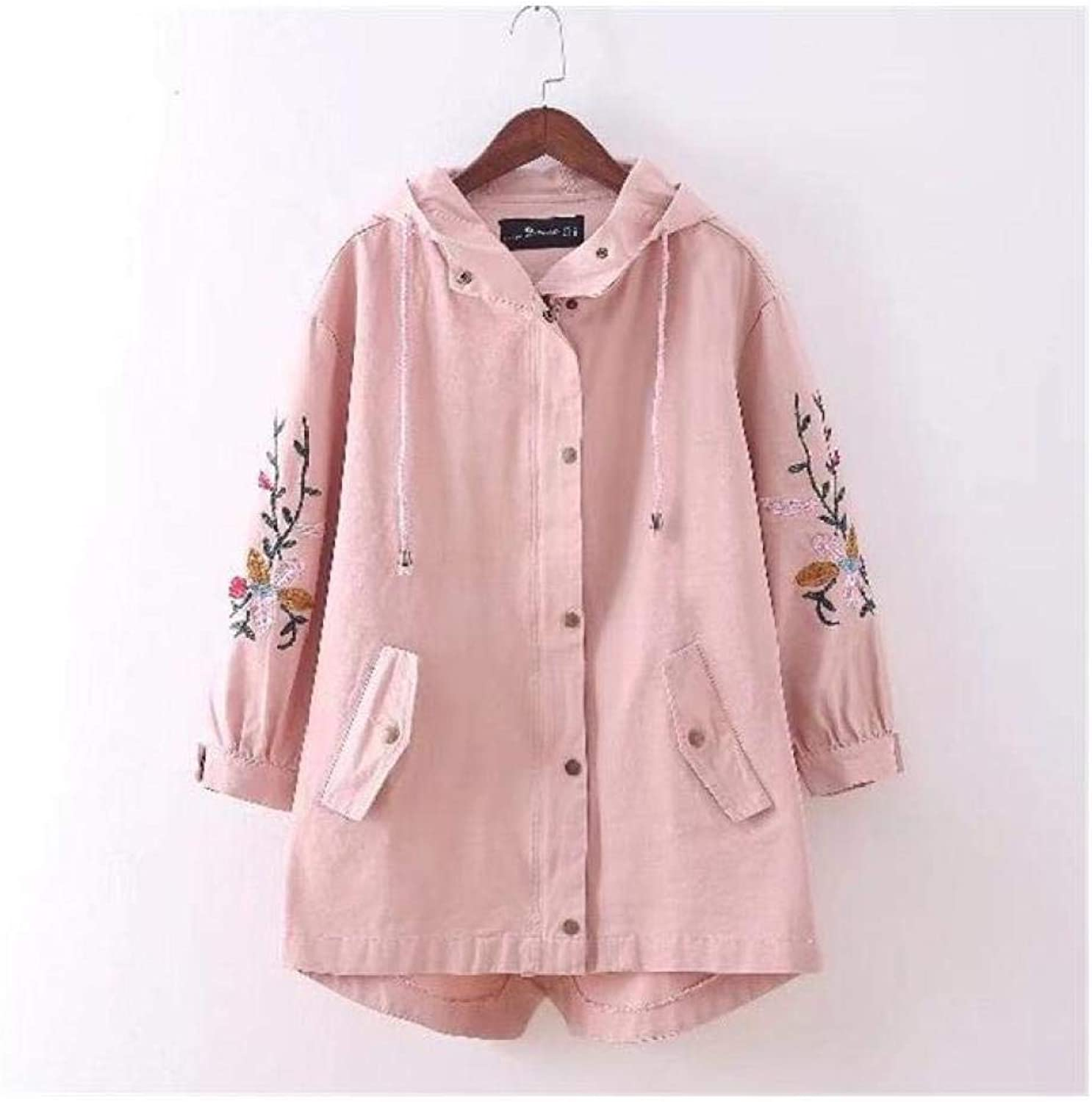 XUBA Autumn White Floral Embroidery Trench Women Coat Long Loose Hole Female Overcoat Hooded Coats Office Lady Long Trench Coats Brown XL