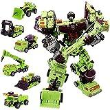 Deformation Devastator Oversize Toys Robot TF Engineering Combiner 6 in 1 Action Figure Car Truck Model Gift for Kids Boys (Green Color)