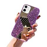 URFEDA Kompatibel mit iPhone 12 Mini Handyhülle Überzug Spiegel, Silikonhülle mit 360 Grad Ring Ständer Glitzer Bling Strass Diamant Hülle Schutzhülle Durchsichtig Clear Tasche Case,Lila