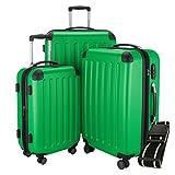 Hauptstadtkoffer - Spree - 3er-Koffer-Set Trolley-Set Rollkoffer Reisekoffer-Set Erweiterbar, TSA, 4 Rollen, (S, M & L), Apfelgrün +Gepäckgurt