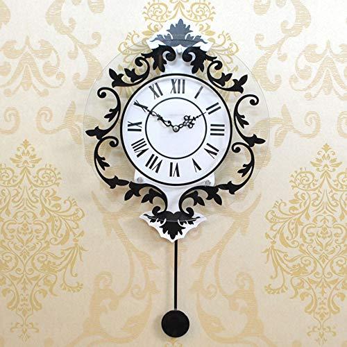 Waniyin Reloj de pared cuando el reloj de pared circular europeo con placa de cortical para dormitorio de madera, artes creativas parpadeando relojes silenciosos