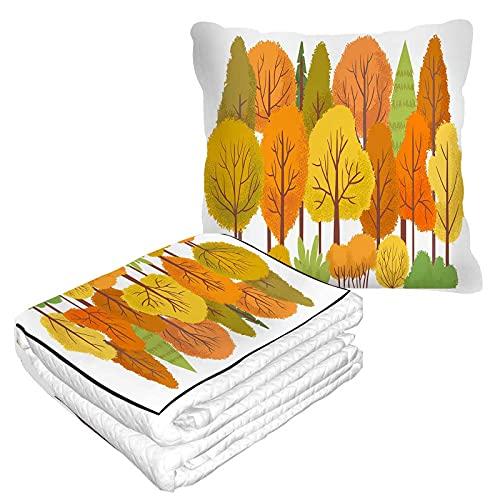 Manta de viaje con árboles de bosque otoñal, almohada 2 en 1 de septiembre, follaje de madera, hojas doradas, árbol amarillo, manta de avión para el hogar, sofá mullido de franela para oficina
