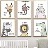 MAQ 6 Pack Baby Jungle Nursery Wall Decor Art Pictures, 30x21cm Unframed Cartoon Safari Animal Wall Murals/Poster with Inspirational Quotes for Baby & Kids Living Room Bedroom Bathroom