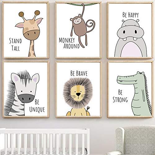 MAQ - Confezione da 6 immagini da parete per cameretta dei bambini, 30 x 21 cm, senza cornice, animali safari, con citazioni ispirative, per bambini e bambini, soggiorno, camera da letto, bagno