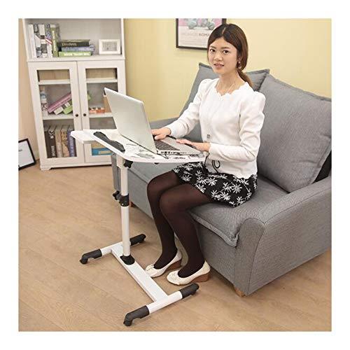 ABD Mesa de sobrecama con ruedas, mesa de vuelta, mesa de días, carrito con tabla de ratón, altura ajustable, ruedas con cerradura (color blanco)