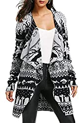Attractive Christmas Sweater in Black and Grey and White with reindeer