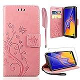 AROYI Lederhülle Samsung Galaxy A10 Flip Hülle + panzerglas,Samsung Galaxy A10 Wallet Hülle Handyhülle PU Leder Tasche Hülle Brieftasche mit Schutzhülle für Samsung Galaxy A10 Rosa