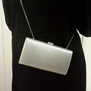 FFX Women Fashion Banquet Party Square Handbag Single Shoulder Crossbody Bag (Black) Bags (Color : Silver)