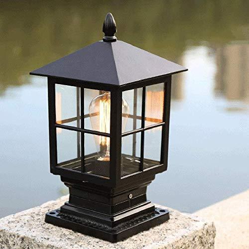 FENGLIAN Traditional Victoria Outdoor Bollard Pillar Light Waterproof IP54 Retro Patio Garden Villa Balcony Aluminum Column Lamp Decoration Parks Community Lawn E27 Post Lantern (Color : Black)