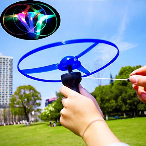 Lisanl Blinkender LED-Propeller mit Zugschnur, fliegende Untertasse, Spielzeug-Scheibe, Hubschrauber.