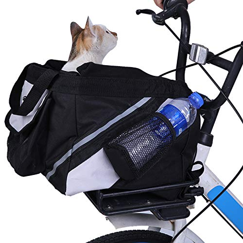 LEMKA Dog Bicycle Basket Carrier Pet Travel Bag -Removable & Foldable Bike Basket Soft-Sided Carrier with Big Pockets for Dogs and Cats