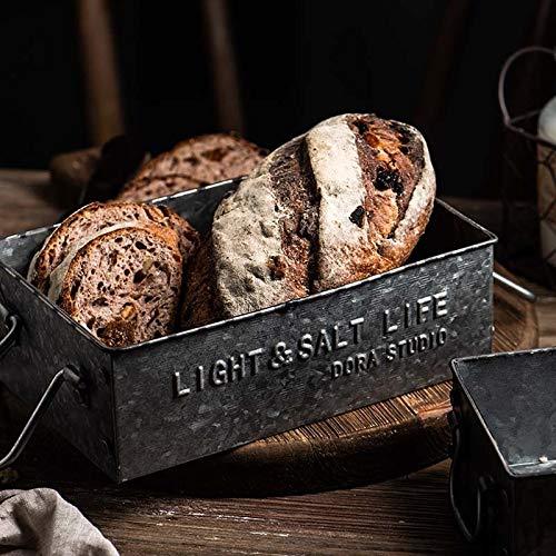 Erfrischendes Vintage alte Schmiedehandgriff Englisch Serviertabletts Retro-Metallaufbewahrungs Sundries Tray Frühstück Brot Kuchenteller rechteckigen Kasten einfach ( Color : S:17*5.5cm )