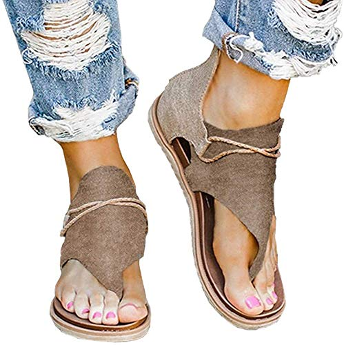 ALOVEWE 2020 Women Posh Gladiator Comfy Sandals, Ladies Fashion Leopard Print Flat Heel Slip On Sandals, Casual Summer Vintage Ankle Strappy Thong Sandals with Zipper (Brown, 11)