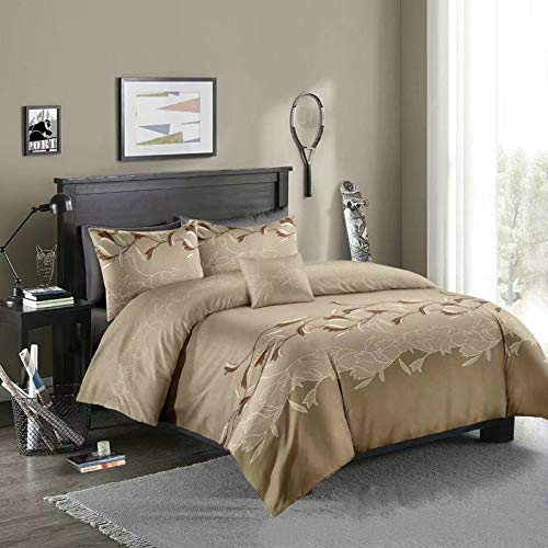 Duvet cover and pillowcase, bedding, quilt cover, single double room, king-size bed-dark blue camel