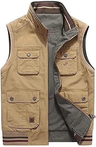 THBEIBEI Chaleco de pesca con varios bolsillos de secado rápido, impermeable y resistente a los arañazos, para hombre, informal, de lona (color: caqui, tamaño: 7XL)