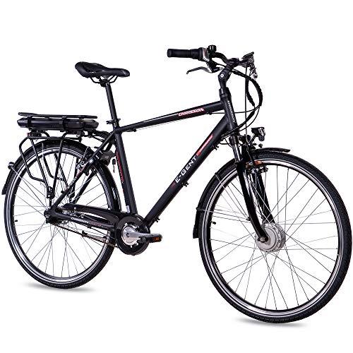 CHRISSON 28 Zoll E-Bike Trekking und City Bike für Herren - E-Gent schwarz mit 7 Gang Shimano Nexus Nabenschaltung - Pedelec Herren mit Ananda Vorderradmotor 250W, 36V