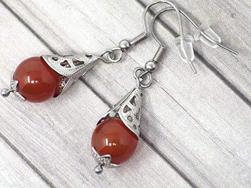 Pendientes de acero inoxidable para mujer con cono de filigrana de acero y cuentas de cornalina roja