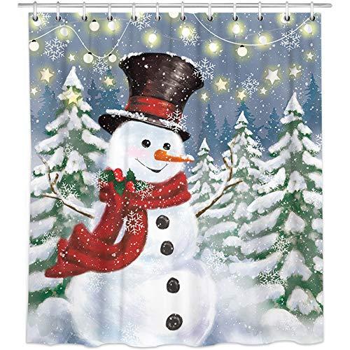 Bonsai Tree Weihnachtliche Duschvorhänge, Schneemann, Stoff-Duschvorhänge in Badewanne, Winterurlaub, Badezimmer, Duschvorhänge, Ringe, Weihnachtsdekoration, 152 x 183 cm