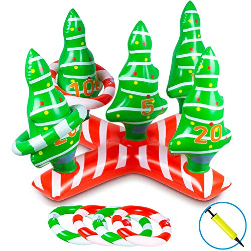 Christmas Game Ring Toss Game Xmas Inflatable Tree Holiday Toys for Kids Adults Activities Xmas Party Favor Family Game Indoor Outdoor Activities with 4 Rings(Handle Pump Included)