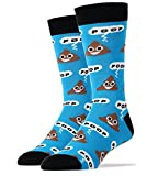 Oooh Yeah Men's Luxury Combed Cotton Crew Socks Blue Poop!