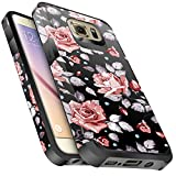 Galaxy S6 Case, Miss Arts Slim Anti-Scratch Protective Kit with [Drop Protection] Heavy Duty Dual Layer Hybrid Sturdy Armor Cover Case for Samsung Galaxy S6 -Rose Gold Flower/Black