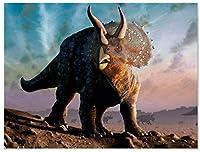 アダルト5Dダイヤモンドペインティングキット、DIY 5Dフルダイヤモンドラウンドラインストーン、クロスステッチ刺繍アート、家の壁の装飾、母の日ギフト(恐竜、15.7 x 19.8インチ)