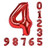 Helium Balloon Red Balloon 40 Inch Numbers 0-9 (Zero-Nine) Mylar Birthday Party Decorations of Arabic Numerals 4