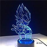 Dragon Ball Super Saiyan God Goku Figuras de acción Lámpara de mesa de ilusión 3D 7 Cambio de color ...