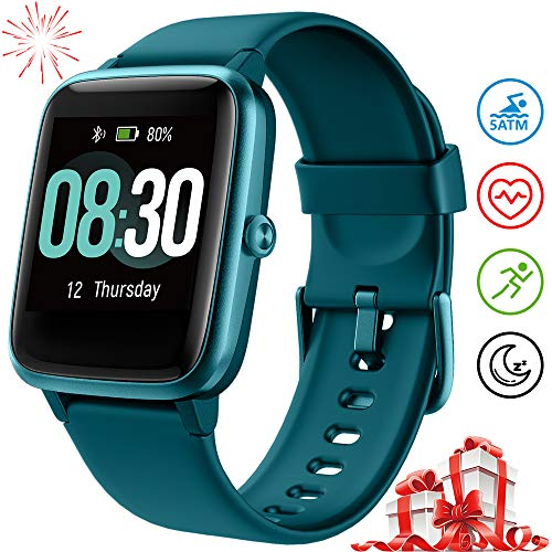 UMIDIGI Smart Watch Fitness Tracker Uwatch3, Smart Watch for Android Phone, Activity Tracker with Heart Rate Monitor, 5ATM Waterproof Smartwatch iPhone Compatible for Kids Men Women(Marina Blue)