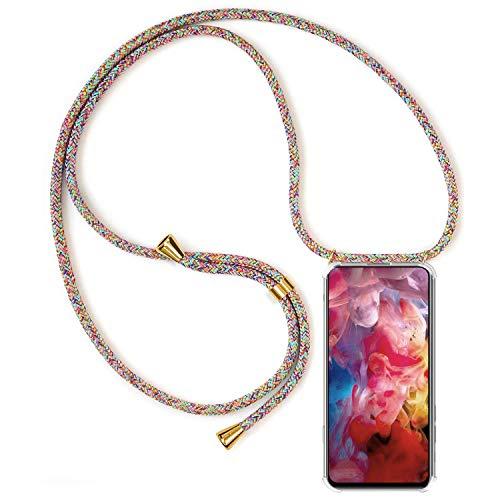 Handykette kompatibel mit Huawei P9 Lite Schutzhülle, Smartphone Necklace Hülle mit Band Handyhülle mit Kordel zum Umhängen, Transparent Weich TPU Silikon Hülle Stossfest - Rainbow