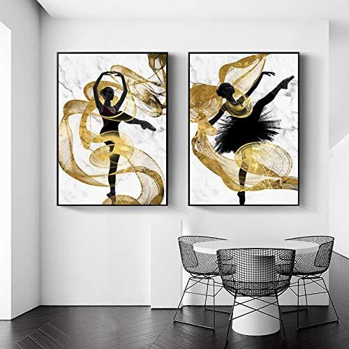 Cinta dorada Flying Dancer Girl Arte de la pared Lienzo Cartel abstracto Impresiones Pintura Decoración moderna Imagen Decoración para sala de estar 60x85cm-2Pcs Sin marco