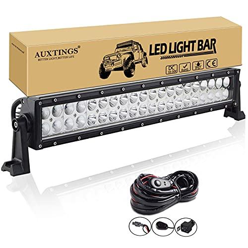AUXTINGS 22 pulgadas 120W Spot Flood Barra de luces LED Luces de conducción campo a través con arnés de cableado Kit para 4WD AWD campo a través Camioneta 4x4 SUV Van Wagon Van Camper Camber