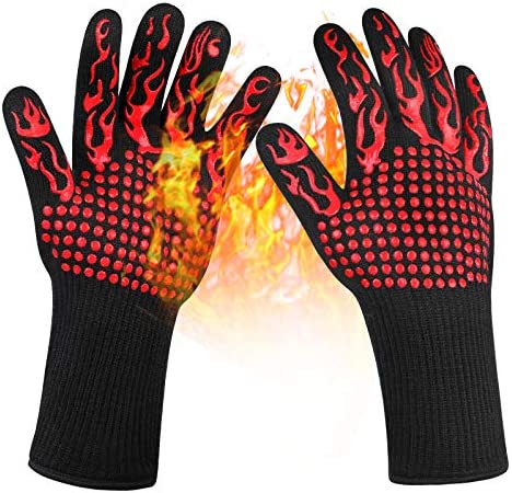 Lepuss Grilling Gloves 1472 F Heat Resistant Gloves Food Grade Kitchen BBQ Gloves Silicone Non product image