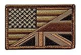 USA/UK Flag Subdued British USA Flag Hook Fastener Patch (MTB1)