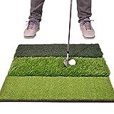 GoSports Tri-Turf XL Golf Practice Hitting Mat - Huge 24' x 24' Turf Mat for Indoor Outdoor Training