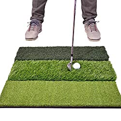 "top 10 golf practice mats GoSports Tri-Turf XL Golf Mat – Huge 24 ""x24"" Lawn for Indoor and Outdoor Training"