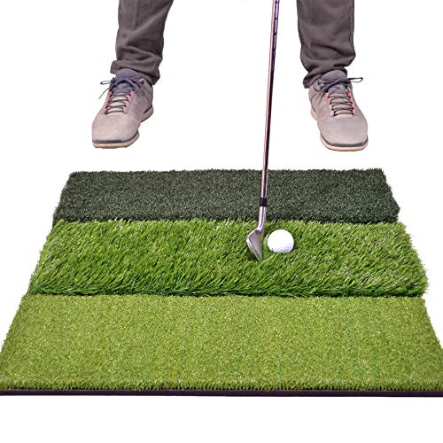 "GoSports Tri-Turf XL Golf Practice Hitting Mat - Huge 24"" x 24"" Turf Mat for Indoor Outdoor Training, Green"