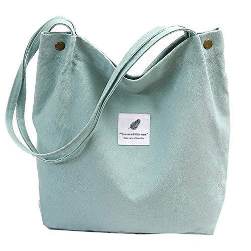 Funtlend Canvas Tasche Damen Handtasche Groß Umhängetasche Beuteltasche Damen Shopper für Mädchen Schule Uni Arbeit