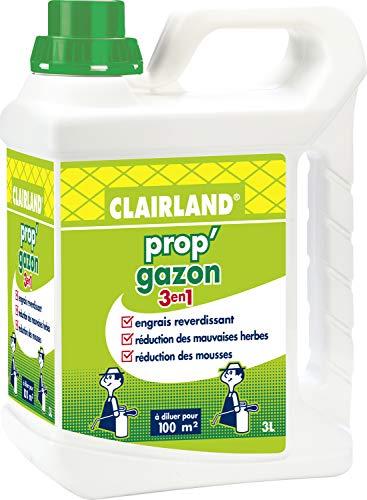 CLAIRLAND Engrais Prop'Gazon 3 en 1, A diluer, Pour 300 m², 3 L, CLAIRGAZ3000