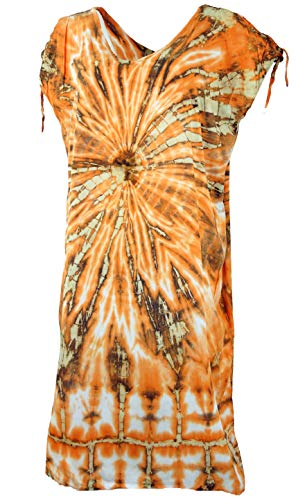 GURU SHOP Kaftan, Langes Kurzarm Batikkleid, Strandkleid, Sommerkleid in Übergröße, Damen, Orange, Synthetisch, Size:One Size, Lange & Midi-Kleider Alternative Bekleidung
