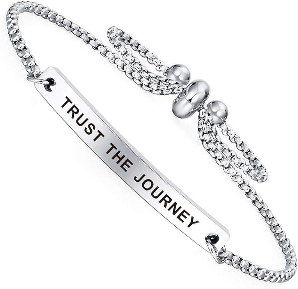 Dainty Cuff Bracelet - TRUST THE JOURNEY - High School University Graduation Gifts for Her