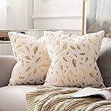 MIULEE Bronzing Feder Kissenbezug Buchstabe Kissenhülle Dekorative Kurzes Haar Dekokissen mit Reißverschluss Sofa Schlafzimmer 18 x 18 Inch 45 x 45 cm 2er Set Weiß